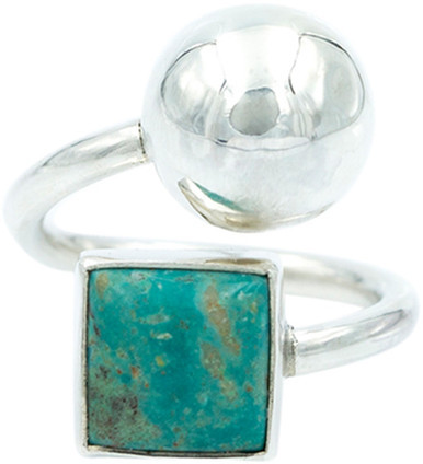 Exex Design Jewelry Sterling Silver Melbourne Turquoise & Ball Ring