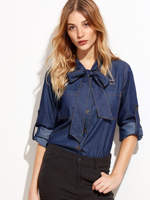 Shein Bow Tie Neck Roll Sleeve Chambray Shirt