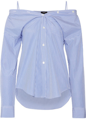 Tamalee Off-the-shoulder Striped Cotton-poplin Shirt - Blue