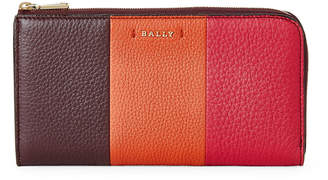 Bally Multicolor Stripe Leather Zip-Around Wallet