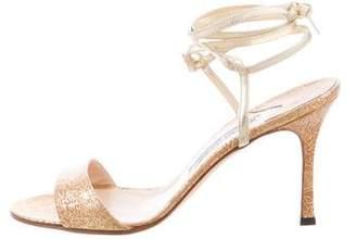 Manolo Blahnik Metallic Lace-Up Sandals w/ Tags