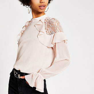 River Island Light pink long sleeve lace frill top