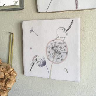 littlebirdydesigns Dandelion Clock Design Ceramic Tile Wall Art