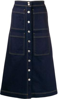 3x1 Multi-Pocket Flared Denim Skirt