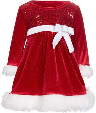 Bonnie Baby Baby Girls Faux-Fur Trim Santa Dress