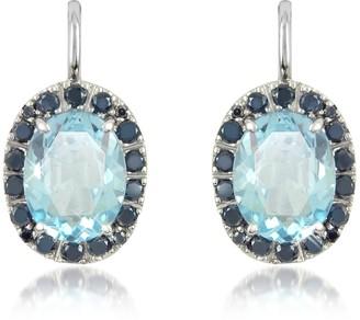 Forzieri 0.58 ct Diamond Pave 18K Gold Earrings w/Blue Topaz
