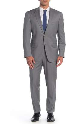 Hart Schaffner Marx Grey Solid Two Button Notch Lapel Wool Classic Fit Suit