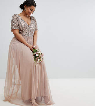 Maya Plus Bridesmaid v neck maxi tulle dress with tonal delicate sequins
