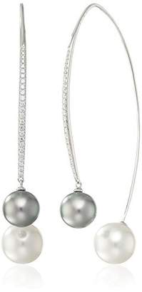 Tara Pearls High/Low Collection 18k White Gold 9x11mm Tahitian Pearl and White South Sea Pearl Drop Earrings (1/3cttw