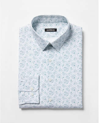 Express slim fit floral print dress shirt