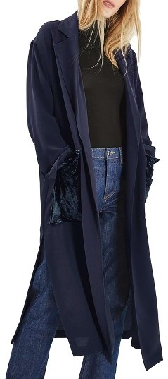 TopshopWomen's Topshop Velvet Pocket Duster Coat