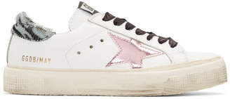Golden Goose White Calf-Hair Zebra May Sneakers