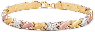 JCPenney FINE JEWELRY Tri-Color 10K Gold 8 Stampato Link Bracelet