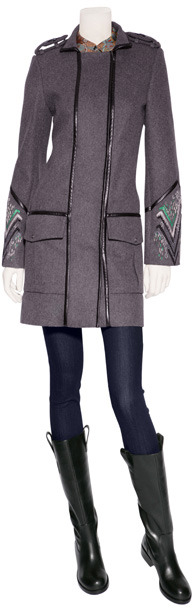 Matthew Williamson Grey-Multi Embroidered Leather Piped Military Coat