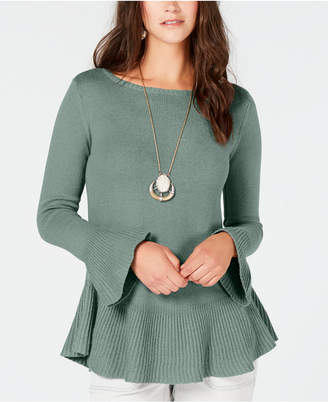 Style&Co. Style & Co Ruffle-Trimmed Pullover Sweater, Created for Macy's