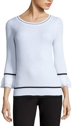 LIZ CLAIBORNE Liz Claiborne Elbow Sleeve Crew Neck Pullover Sweater $44 thestylecure.com