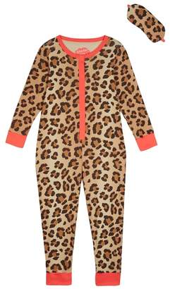 Bluezoo BLUE ZOO Girls' Cream Leopard Print Onesie With An Eye Mask