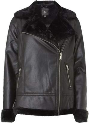 Dorothy Perkins Womens Black Faux Shearling Biker Jacket