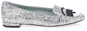 Chiara Ferragni Glitter Leather Loafers