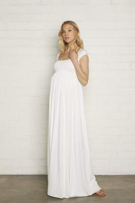 Maternity Cap Sleeve Isa Dress - White