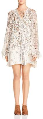 Haute Hippie Romani Ruffled Floral-Print Silk Dress