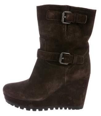 Prada Sport Suede Mid-Calf Wedge Boots
