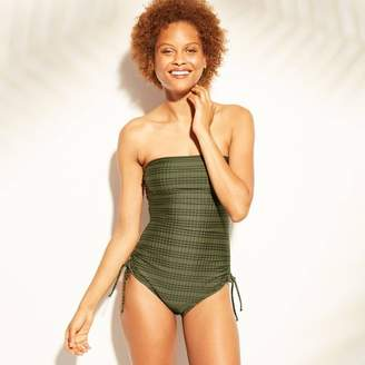 9d64e0ea8 Green & Black Kona Sol Women's Ribbed Side Tie One Piece Swimsuit - Kona  Sol Moss