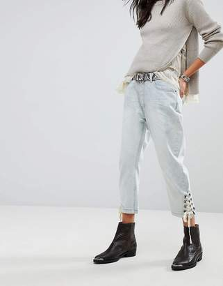 One Teaspoon Eagles Boyfriend Jeans With Lace Up Ankle