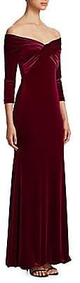 Theia Women's Off-The-Shoulder Velvet Gown