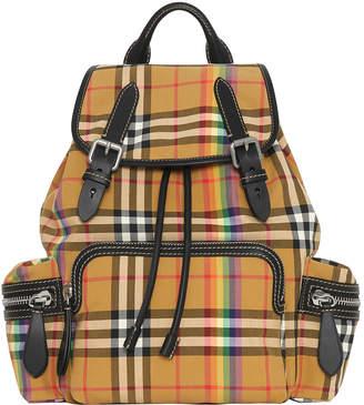 Burberry Medium Vintage Check Rainbow Stripe Rucksack