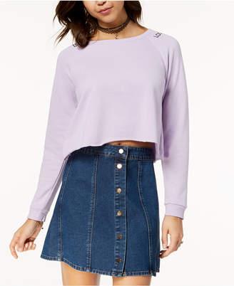 Ultra Flirt Juniors' Lace-Up Cropped Sweatshirt