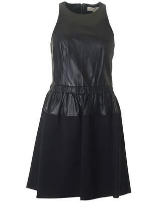 Michael Kors Leather Combo Dress Colour: BLACK, Size: 8