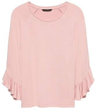 Banana Republic Luxespun Flutter-Sleeve T-Shirt