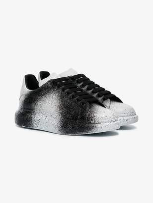 Alexander McQueen black and white sprayed tint print leather sneakers