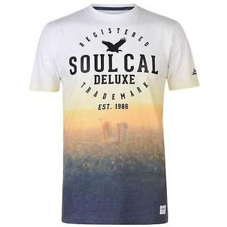 Soul Cal SoulCal Mens Nevada T Shirt Crew Neck Tee Top Short Sleeve Print