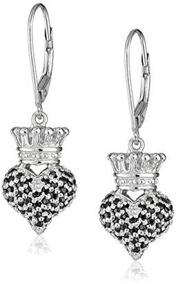 """King Baby Studio Crowned Heart"""" Small 3D Crowned Heart with Pave Cubic Zirconia Leverback Earrings"""