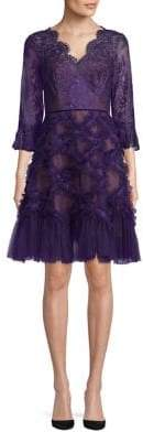 Marchesa Ruffled Fit--Flare Dress