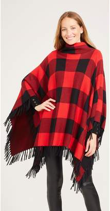 J.Mclaughlin Garnet Poncho in Buffalo Check