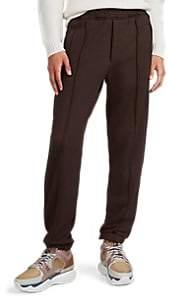 Fendi Men's Zucca-Striped Cotton-Blend Fleece Sweatpants - Brown