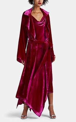 Juan Carlos Obando Women's Velvet High-Low Trench Coat - Pink