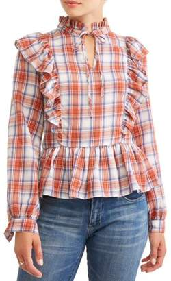 Lucca Couture Women's Indiana Ruffle Plaid Peplum Blouse