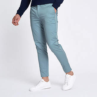 River Island Light blue pipe skinny fit chino pants