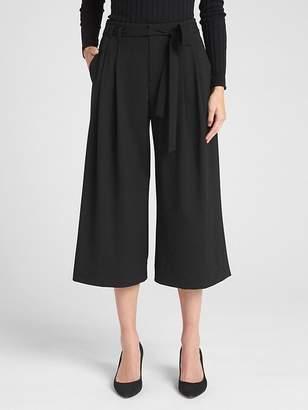 Tie-Belt Crop Wide-Leg Pants