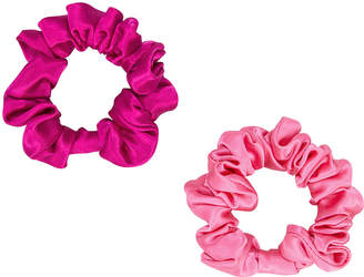 Colette Malouf Set Of 2 Silk Pink Scrunchies