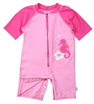 I Play One Piece Zip Sunsuit for Girls (6 Months, Newborn, Pink Seahorse)