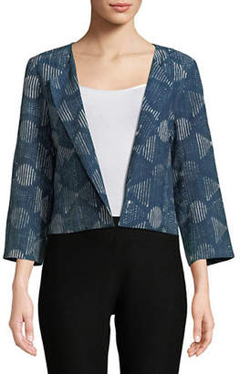 Eileen Fisher Hand-Printed Indigo Cropped Jacket