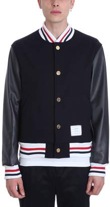 Thom Browne Varsity Wool And Leather Jacket