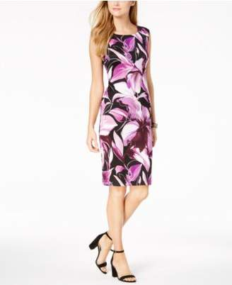 Connected Sleeveless Floral-Print Dress