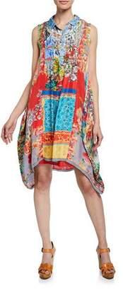 Johnny Was Sky Mix-Print Sleeveless A-Line Silk Twill Dress
