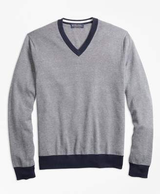 Brooks Brothers Supima Cotton Thin Stripe V-Neck Sweater
